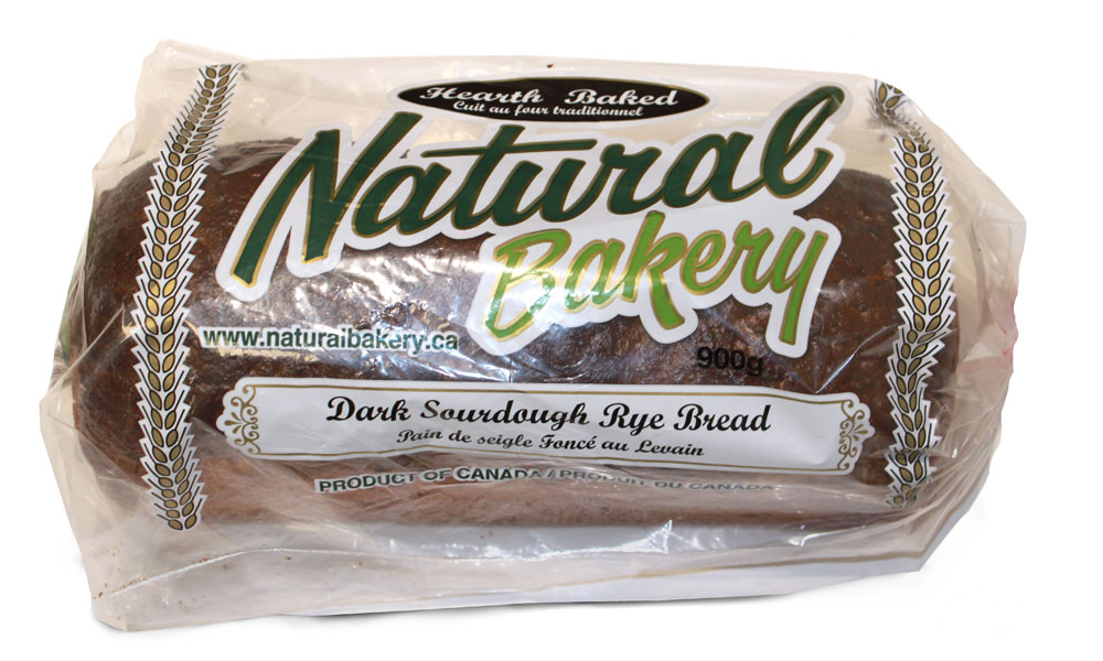 Dark sour dough loaf sliced and bagged