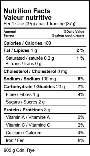 nutrition label 900 g canadian rye