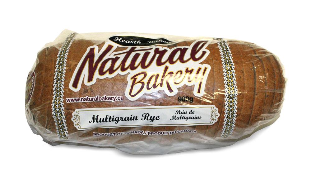 Multigrain rye loaf sliced and bagged