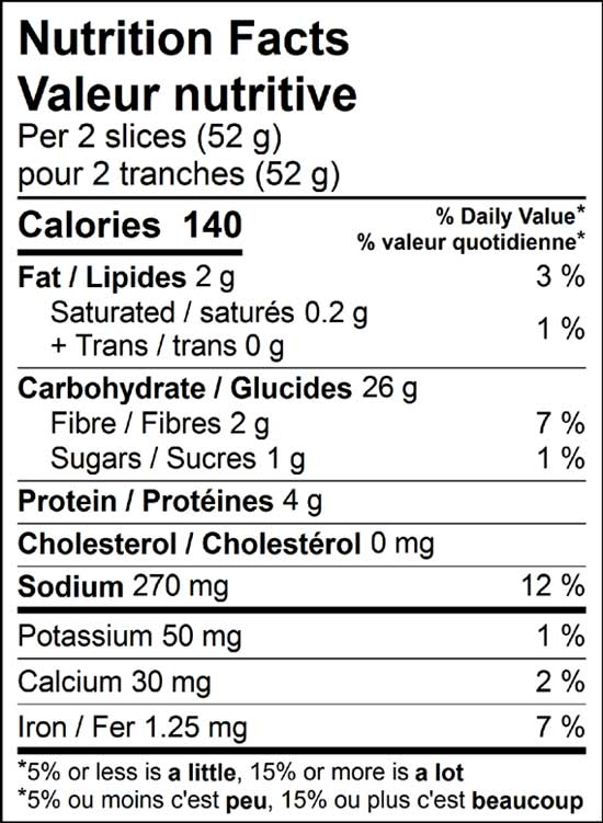 bavarian rye 500g nutrition facts