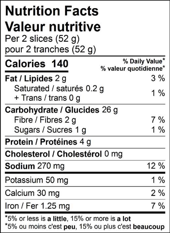 bavarian rye 500g nutrition facts