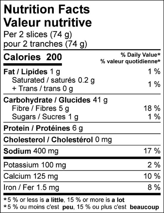 dark sourdough 900g nutrition facts