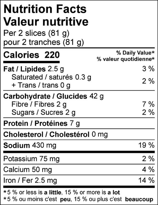 french bread thick slice 700g nutrition facts